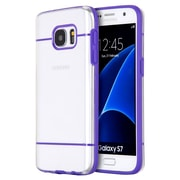 Insten Glamon Fusion TPU Candy Skin Rubber Gel Case For Samsung Galaxy S7 - Clear/Purple