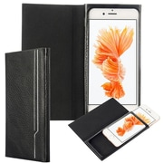 Insten Low Profile Ultra Slim Flip Leather Case W/ Extended Weight Cover - Black For Iphone 6 Plus / 6S Plus
