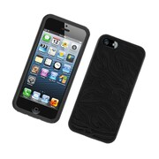 Insten Zebra Dual Layer Hybrid TPU Rubber Candy Skin Case Cover for Apple iPhone 5 / 5S - Black