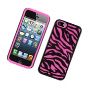 Insten Zebra Dual Layer Hybrid TPU Rubber Candy Skin Case Cover for Apple iPhone 5 / 5S - Black/Hot Pink