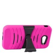 Insten Wave Symbiosis Dual Layer Hybrid Stand Amor Shockproof Case Cover For Samsung Galaxy J3 (2017) - Hot Pink/Black