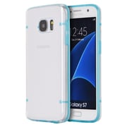 Insten Clear Back 4 Dots Fusion TPU Candy Skin Rubber Gel Case For Samsung Galaxy S7 - Clear/Blue