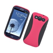 Insten Dual Layer Hybrid TPU Rubber Candy Skin Case Cover for Samsung Galaxy S3 i9300 - Hot Pink/Black