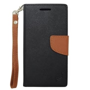 Insten Flip Wallet Leather Case with Card Slot & Lanyard For HTC Desire 510 - Black/Brown