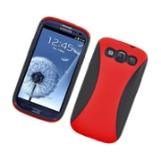 Insten Dual Layer Hybrid TPU Rubber Candy Skin Case Cover for Samsung Galaxy S3 i9300 - Red/Black