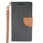 Insten Wallet Leather Stand Case with Lanyard & Card slot For Motorola Moto G (2nd Gen) - Black/Brown