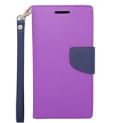 Insten Wallet Leather Case with Card Slot & Lanyard For HTC Desire 510 - Purple/Blue