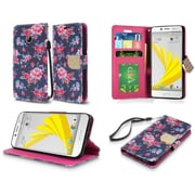 Insten Roses Flip Leather Fabric Case Lanyard w/stand/card slot/Photo Display/Diamond For HTC 10 / Bolt - Green/Pink