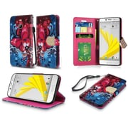 Insten Butterfly Bliss Folio Leather Fabric Case Lanyard w/stand/card slot For HTC 10 / Bolt - Red/Blue