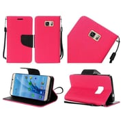 Insten Flip Leather Fabric Case Lanyard w/stand For Samsung Galaxy S7 - Hot Pink/Black