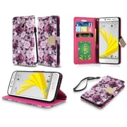 Insten Roses Book-Style Leather Fabric Cover Case Lanyard w/stand/card holder For HTC 10 / Bolt - Purple/White