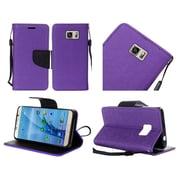 Insten Flip Leather Fabric Case Lanyard w/stand For Samsung Galaxy S7 - Purple/Black