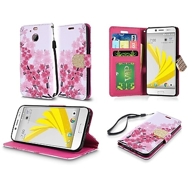 Insten Cherry Blossom Flip Leather Fabric Cover Case Lanyard w/stand/card slot For HTC 10 / Bolt - Pink