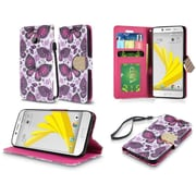 Insten Butterfly Flower Flip Leather Fabric Case Lanyard w/stand/card holder For HTC 10 / Bolt - Purple/White