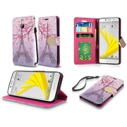 Insten Eiffel Tower Folio Leather Fabric Cover Case Lanyard w/stand/card slot For HTC 10 / Bolt - Pink