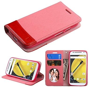 Insten Book-Style Leather Fabric Cover Case w/stand/card slot/Photo Display For Motorola Moto E(2nd Gen 2015) - Pink/Red