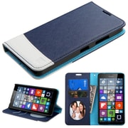 Insten Flip Leather Fabric Cover Case w/stand For Microsoft Lumia 640(Metro PCS)/Lumia 640(T-mobile) - Blue/White