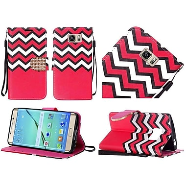 Insten Chevron Book-Style Leather Fabric Cover Case Lanyard w/stand/Diamond For Samsung Galaxy S7 Edge - Red/White