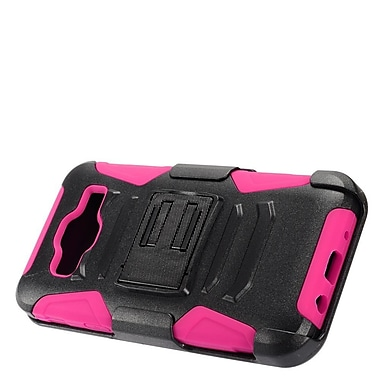 Insten Advanced Armor Dual Layer Hybrid Stand Case + Holster Clip For Samsung Galaxy On5 - Black/Hot Pink