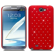 Insten Hard Rubber Case with Diamond For Samsung Galaxy Note 2 II - Red