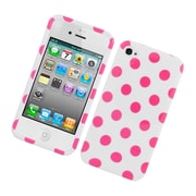 Insten Polka Dots Hard Plastic Cover Case for iPhone 4 4S - White/Pink