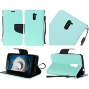 Insten Folio Leather Fabric Case with Lanyard For ZTE Kirk - Teal/Black