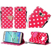 Insten Polka Dots Book-Style Leather Fabric Cover Case Lanyard w/stand/Diamond For Samsung Galaxy S7 Edge - Red/White