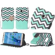 Insten Chevron Flip Leather Fabric Cover Case Lanyard w/stand/Diamond For Samsung Galaxy S7 Edge - Teal/White