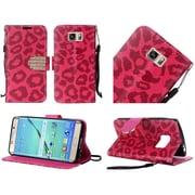 Insten Leopard Book-Style Leather Fabric Case Lanyard w/stand/Diamond For Samsung Galaxy S7 Edge - Red/Black