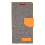 Insten Flip Leather Fabric Stand Case w/ Card Holder/Photo Display for Samsung Galaxy Note 5 - Gray/Orange