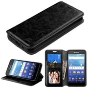 Insten Folio Leather Fabric Case w/stand/card slot/Photo Display For Kyocera Hydro Wave - Black