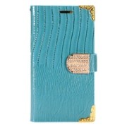 Insten Flip Leather Crocodile Skin Cover Case w/card slot/Diamond for LG K7 - Blue/Gold