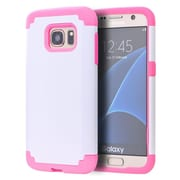 Insten Hybrid Dual Layer Hard PC/TPU Case Cover For Samsung Galaxy S7 Edge - White/Pink