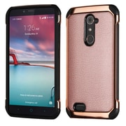 Insten Leather Hybrid Fabric TPU Case For ZTE Zmax Pro - Rose Gold/Black