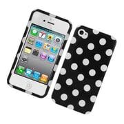 Insten Polka Dots Hard Plastic Cover Case for iPhone 4 4S - Black/White