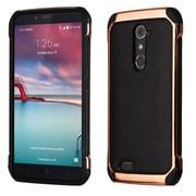 Insten Leather Hybrid Fabric TPU Case For ZTE Zmax Pro - Black/Rose Gold