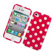 Insten Polka Dots Hard Plastic Case for iPhone 4 4S - Hot Pink/White