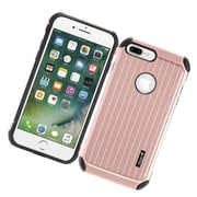 Insten Carry On Hybrid Dual Layer Rubberized Hard Silicone Case Cover For Apple iPhone 7 Plus - Rose Gold/Black