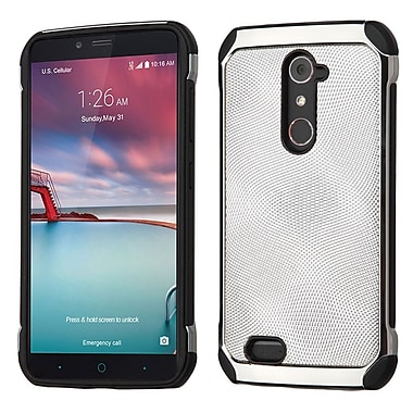 Insten Leather Hybrid Fabric TPU Case For ZTE Zmax Pro - Silver/Black