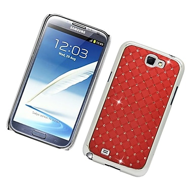 Insten Hard Rubber Chrome Case with Diamond For Samsung Galaxy Note 2 II - Red