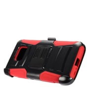 Insten Advanced Armor Dual Layer Hybrid Stand Case + Holster Clip For Samsung Galaxy S7 Active - Black/Red