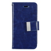 Insten Folio Leather Fabric Cover Stand Credit Card Case w/ Photo Display for Apple iPhone SE / 5 / 5S - Blue