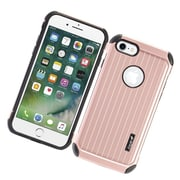 Insten Carry On Hybrid Dual Layer Rubberized Hard Silicone Protective Case Cover For Apple iPhone 7 - Rose Gold/Black