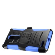 Insten Advanced Armor Dual Layer Hybrid Stand Case + Holster Clip For ZTE Zmax Pro - Black/Blue