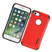 Insten Carry On Hybrid Dual Layer Rubberized Hard Silicone Protective Case Cover For Apple iPhone 7 - Red/Black