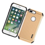 Insten Carry On Hybrid Dual Layer Rubberized Hard Silicone Protective Case Cover For Apple iPhone 7 Plus - Gold/Black
