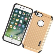 Insten Carry On Hybrid Dual Layer Rubberized Hard Silicone Protective Case Cover For Apple iPhone 7 - Gold/Black