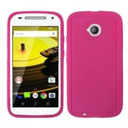 Insten Rugged Rubber Cover Case For Motorola Moto E (2nd Gen 2015) - Hot Pink