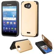 Insten Hard Rubber Coated Cover Case w/card holder For Kyocera Hydro Wave - Gold