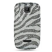 Insten For Motorola Theory Full Diamond Case Silver Zebra